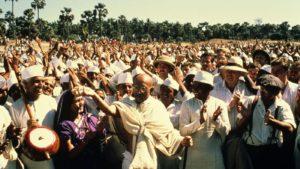 Scène des funérailles de Gandhi
